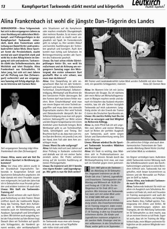 alina ist im leutkirch hat was taekwondo gebrazhofen. Black Bedroom Furniture Sets. Home Design Ideas